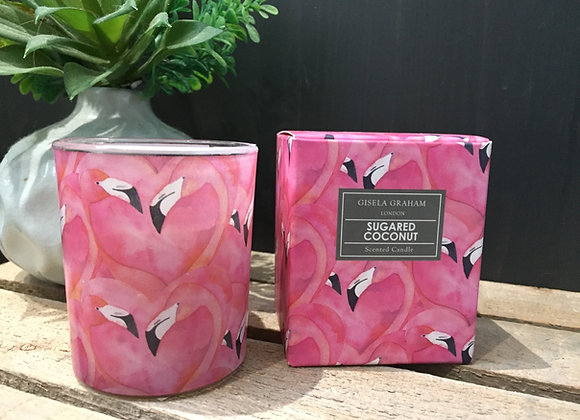 Gisela Graham Sugared Coconut scented candle in flamingo design 20hrs