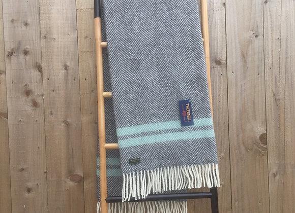 Tweedmill Textiles Slate fishbone with Ocean stripe pure wool knee blanket