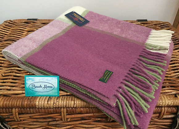 Tweedmill Textiles Raspberry, cream and green Tartan check wool knee Blanket