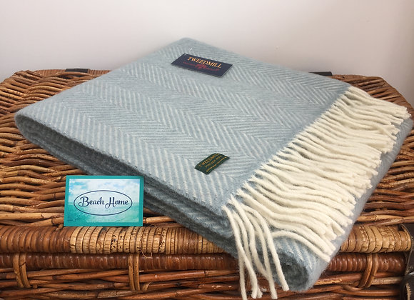 Tweedmill Textiles Duck Egg Fishbone knee blanket