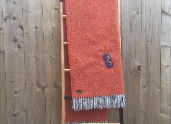 Tweedmill Textiles Pure New Wool Pumpkin Orange/ Grey Boa Throw/Blanket 150x200