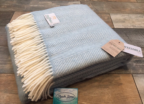 Tweedmill Textiles Pure New Wool Duck Egg Blue/Cream Fishbone Throw/Blanket