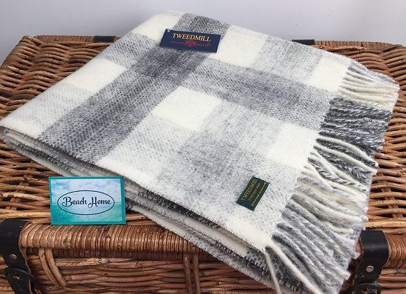 Tweedmill Textiles Grey Meadow check Pure wool knee Blanket
