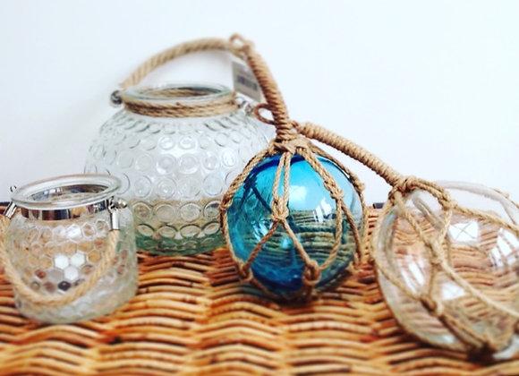 Gisela Graham set of 2 clear/blue glass fishing floats