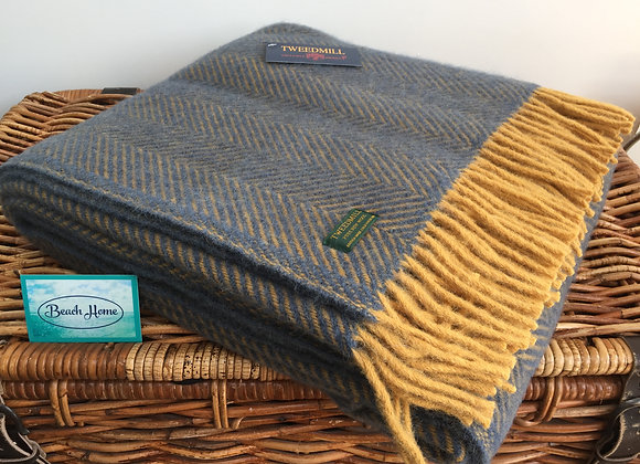 Tweedmill Textiles New Wool Navy/Mustard Yellow Herringbone Throw/Blanket