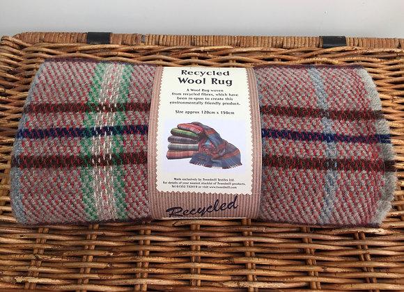 Tweedmill Textiles grey/brown/navy Check recycled wool rug/blank