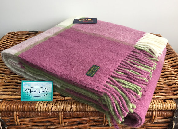 Tweedmill Textiles Pure New Wool Raspberry Pink & Green Check Throw/Blanket/Rug