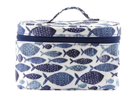 Gisela Graham Nautical Fish oil cloth vanity case/ make up bag