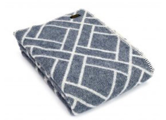 Tweedmill Textiles Pure New Wool blue brick jacquard Blanket/Throw