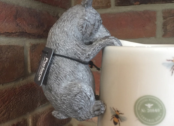 Parlane grey coloured resin grizzly bear pot hanger