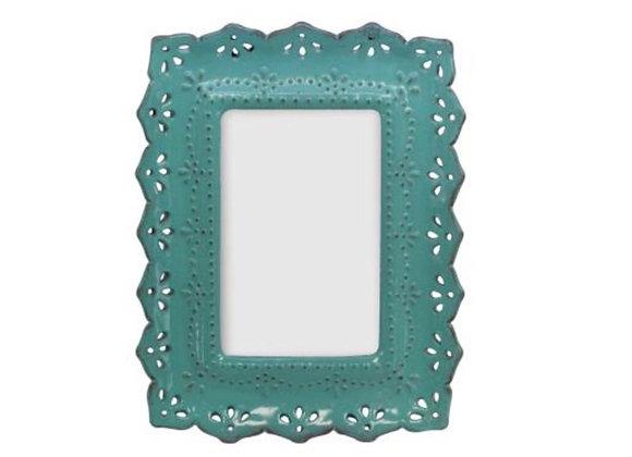 Gisela Graham Blue glazed resin ornate picture frame
