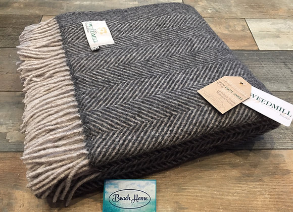 Tweedmill Textiles Pure New Wool Charcoal/Silver Grey Herringbone Throw/Blanket
