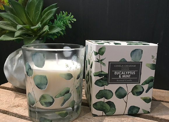 Gisela Graham Eucalyptus and mint 40hr candle in gift box