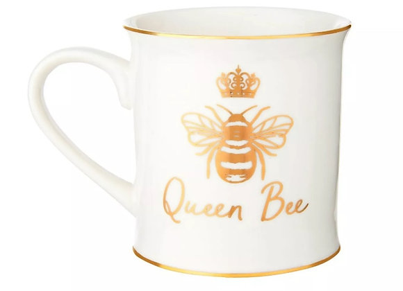 Porcelain Queen Bee mug with gold trim