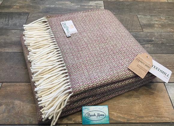 Tweedmill Textiles Pure New Wool Raspberry Green Illusion Throw/Blanket