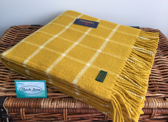 Tweedmill Textiles Pure New Wool Mustard Yellow Chequered Check Throw/Blanket