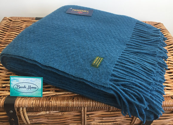 Tweedmill Textiles Pure New Wool Ink blue wafer Throw/Blanket