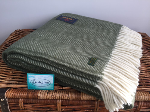Tweedmill Textiles Pure New Wool Olive GreenCream Fishbone Throw Interesting Olive Green Throw Blanket