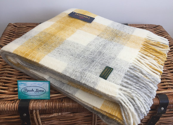 Tweedmill Textiles Pure New Wool Yellow, cream and Grey Meadow Check blanket