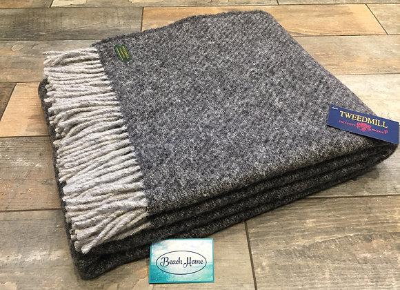 Tweedmill Textiles pure new Wool Grey Boa Throw/Blanket 150x200