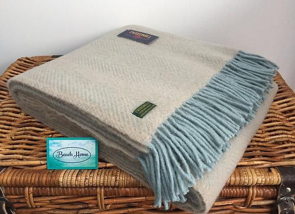 Tweedmill Textiles Pure New Wool Fawn & Duck Egg Blue Herringbone Throw/Blanket