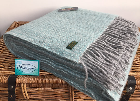 Tweedmill Textiles Spearmint/grey illusion pure wool blanket/throw