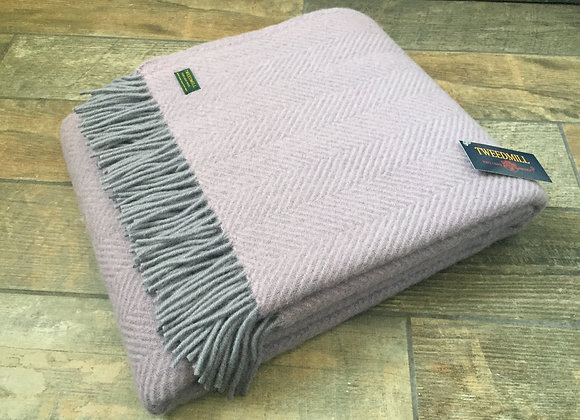 Tweedmill Textiles Pure New Wool Lilac Stone grey Herringbone Throw Blanket. Tweedmill   Parlane   Gisela Graham   Bombay Duck   beach home co