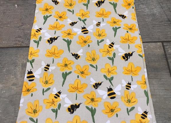 Gisela Graham bee buttercup cotton fabric tea towel