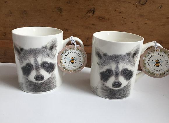 Botanical Discovery Set of 2 Raccoon Fine China Mugs
