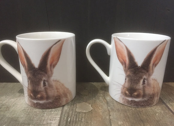 Set of 2 bunny rabbit China Mugs