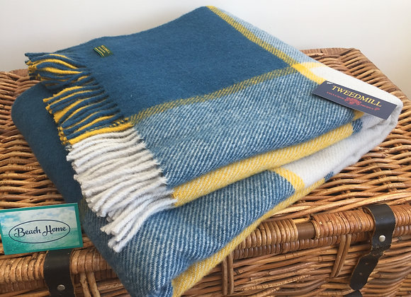 Tweedmill Textiles Pure New Wool Ink, Yellow and Grey Check Throw/ Blanket