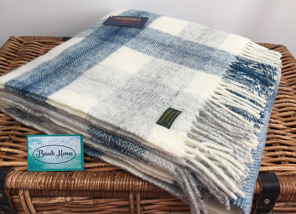 Tweedmill Textiles Pure New Wool Ink blue Meadow Check blanket/ throw