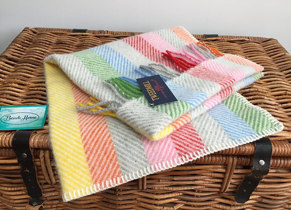 Tweedmill Textiles Pure New Wool Rainbow/ Silver grey Stripe Baby/Pram Blanket