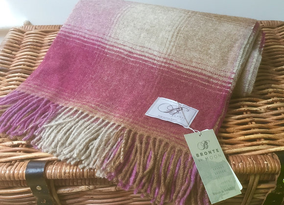Bronte by Moon Kilnsey Berry check Pure Shetland wool throw