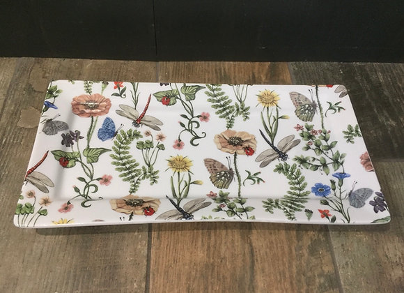 Gisela Graham floral platter with butterflies and dragonflies