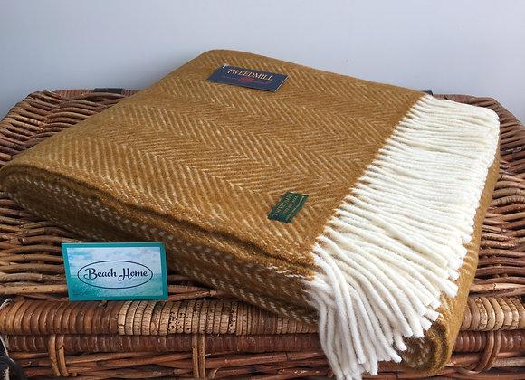 Tweedmill Textiles Pure New Wool Mustard/Cream Fishbone Throw/Blanket