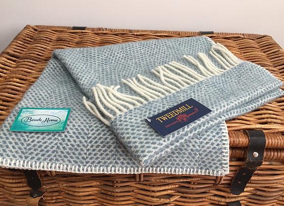 Tweedmill Textiles Pure Wool Petrol Blue beehive Baby Blanket