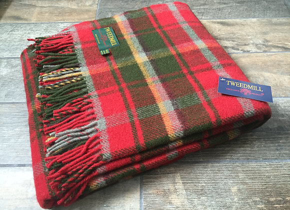 Tweedmill Textiles Pure New Wool Dark Maple Red Tartan Blanket/Throw/Rug