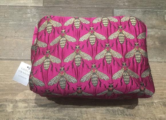 Pink metallic bee boxy make up bag
