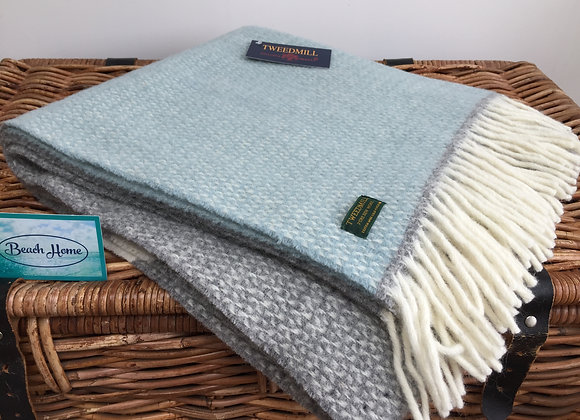 Tweedmill Textiles Duck egg and Grey illusion colour block knee blanket