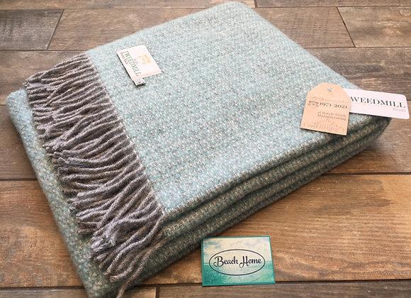 Tweedmill Textiles pure wool Spearmint/ grey illusion knee blanket