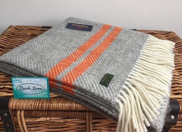 Tweedmill Textiles grey fishbone with orange stripe pure wool knee blanket