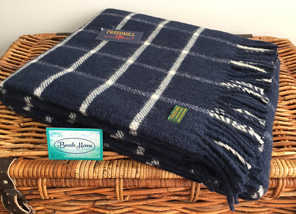 Tweedmill Textiles Pure Wool Navy Chequered Check Throw/Blanket