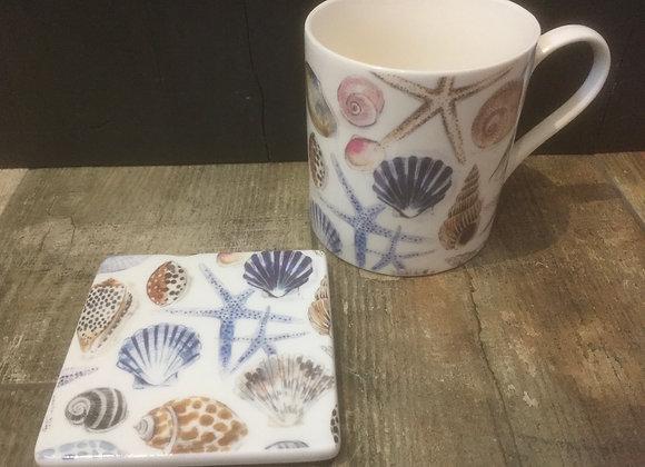 Gisela Graham ceramic shells/ starfish coaster
