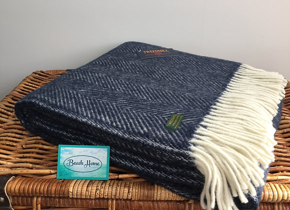 Tweedmill Textiles New Wool Navy Fishbone Throw/ Blanket