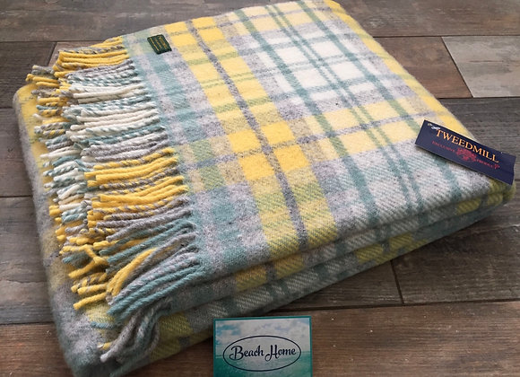 Tweedmill Textiles Pure New Wool Cottage Ocean/yellow Check Throw/Blanket