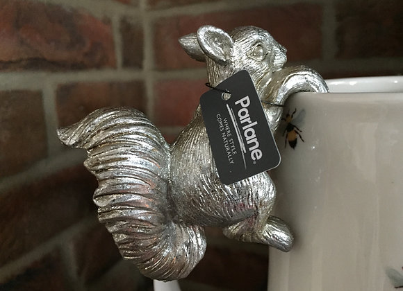 Parlane platinum coloured resin squirrel pot hanger