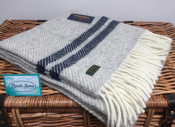Tweedmill Textiles grey fishbone with navy stripe pure wool knee blanket