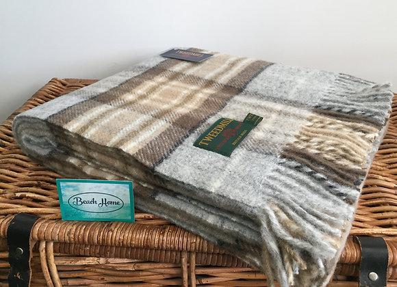 Tweedmill Textiles McKellar Grey and brown check tartan throw/ blanket