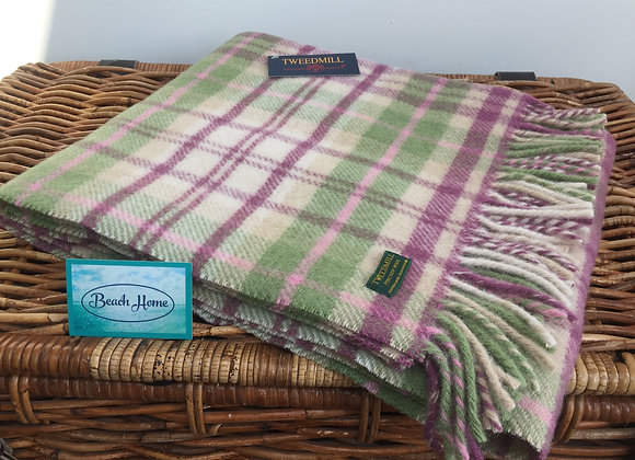 Tweedmill Textiles Pink Cottage Tartan check Pure wool knee blanket